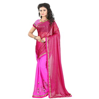 Karishma Pink Georgette Lace Saree With Blouse