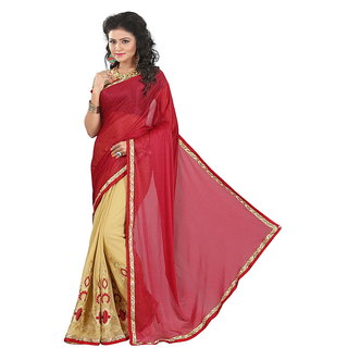 Karishma Khaki Georgette Lace Saree With Blouse