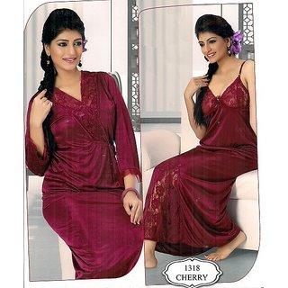 4723197da1a Womens Fancy Sleep Wear 2pc Nighty Over Coat 1318 Hot Bed Night Robe Set Gif
