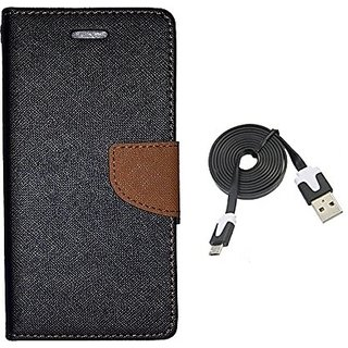 Mercury Wallet Flip Cover Case  Micromax Canvas A1 (BROWN) With usb data cable