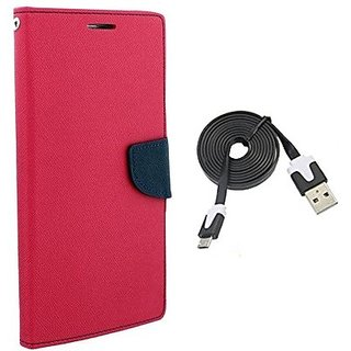 Mercury Wallet Flip Cover Case  Micromax Bolt A069 (PINK) With usb data cable