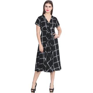 Hangup Black Checks Maxi Dress For Women