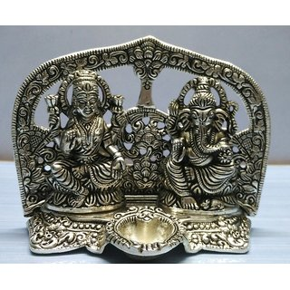 Divine statue of Laxmi  Ganesh with Diya  - Silver