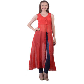 Lee Marc Red Plain A Line Dress For Women