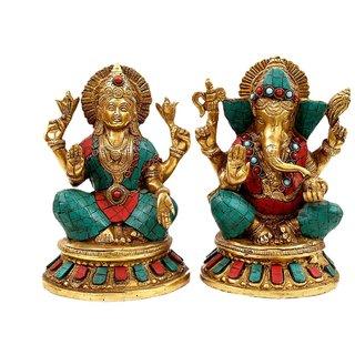 Creative Crafts Brass Figurine Ganesh Lakshmi Idol Set with Stone Work Hindu God Statue Home Decorative Handicraft Corporate/Diwali Gift  Showpiece