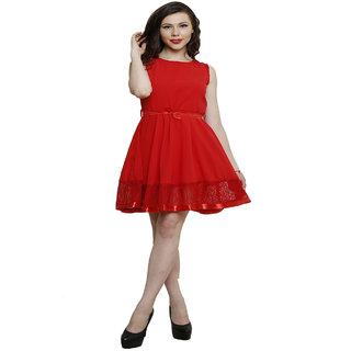 Hangup Red Plain A Line Dress For Women