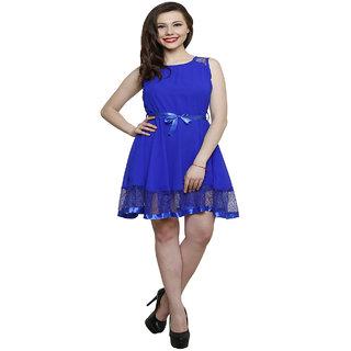 Hangup Blue Plain A Line Dress For Women