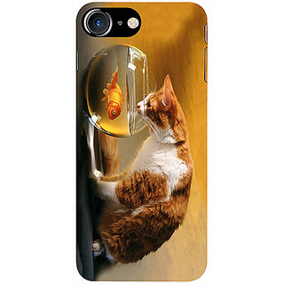 Casotec Cat and Fish Design 3D Printed Hard Back Case Cover for Apple iPhone 7