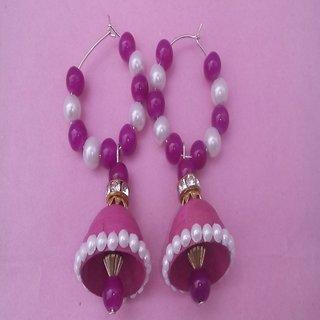 Shubham s Pink beads hoop quilling earring