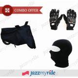 Bike Combo - Pro Biker Gloves (Black) + Face Mask + Bike Cover
