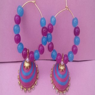 Shubham s Blue and Pink  beads hoop quilling earring