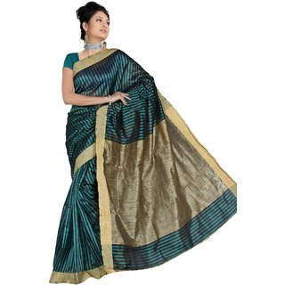 Pavecha's Turquoise Silk Plain Saree With Blouse