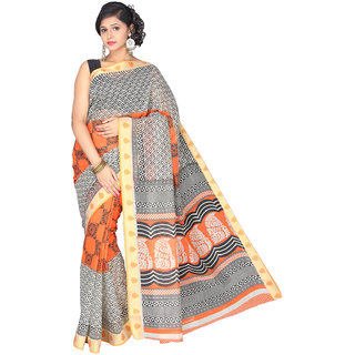Pavecha's Multicolor Cotton Graphic Print Saree With Blouse
