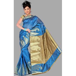 Pavecha's Blue Cotton Floral Saree With Blouse