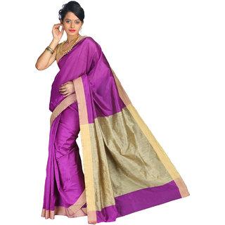 Pavecha's Pink Silk Plain Saree With Blouse