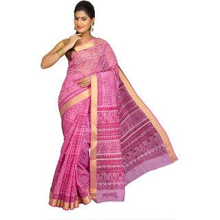 Pavecha's Purple Cotton Plain Saree With Blouse