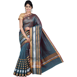 Pavecha's Blue Silk Plain Saree With Blouse
