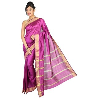 Pavechas Pink Silk Striped Saree With Blouse
