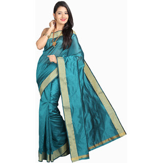 Pavechas Blue Silk Plain Saree With Blouse