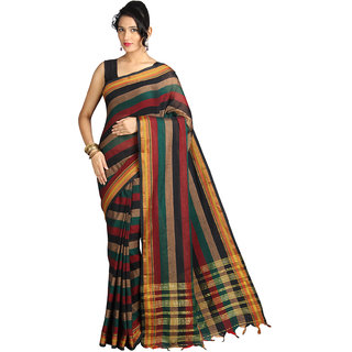 Pavecha's Multicolor Cotton Striped Saree With Blouse