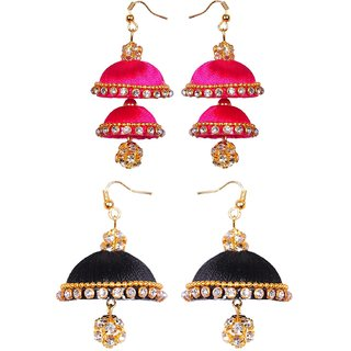 double decker pink jhumka and black silk thread jhumka earrings - two set (RK-PNK2J-BLK-ERNG)