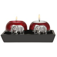 Outdazzle Designer  Wooden Candle Stand With Wooden Tra