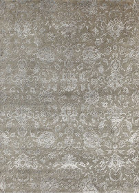 Transitional Hand Knotted Silver Gray Wool  Art Silk Area Rugs By Jaipur Rugs