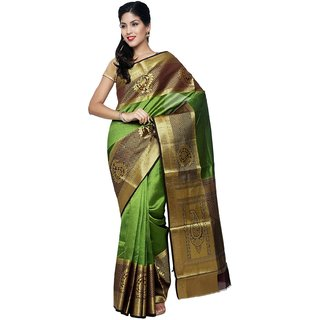 Sudarshan Silks Green Raw Silk Self Design Saree With Blouse