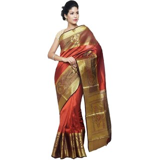 Sudarshan Silks Red Raw Silk Self Design Saree With Blouse