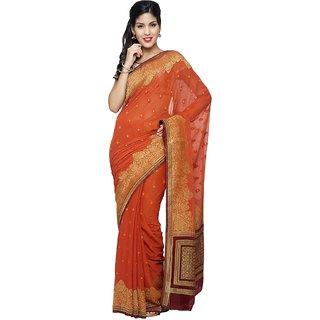 Sudarshan Silks Red Chiffon Self Design Saree With Blouse