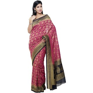 Sudarshan Silks Purple Chiffon Self Design Saree With Blouse