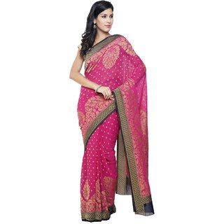 Sudarshan Silks Pink Chiffon Self Design Saree With Blouse