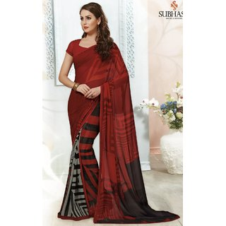 Sudarshan Silks Red Georgette Self Design Saree With Blouse