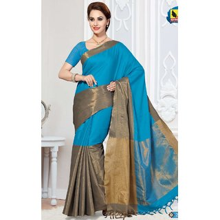Sudarshan Silks Blue Georgette Self Design Saree With Blouse
