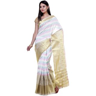 Sudarshan Silks White Raw Silk Self Design Saree With Blouse