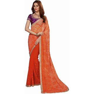 Sudarshan Silks Orange Polyester Self Design Saree With Blouse