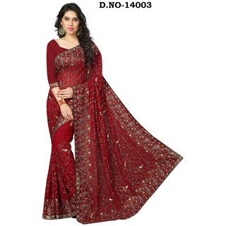 sudarshansilk Red Georgette