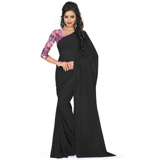 Sudarshan Silks Black Georgette Self Design Saree With Blouse