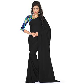 Sudarshan Silks Black Georgette Self Design Saree With Blouse