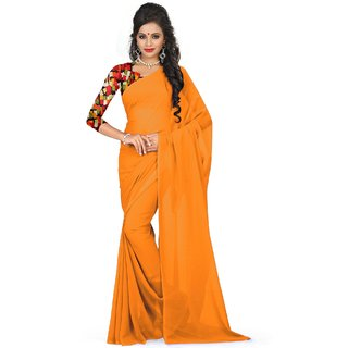 Sudarshan Silks Orange Georgette Self Design Saree With Blouse