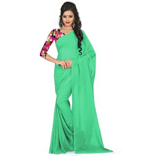 Sudarshan Silks Green Georgette Self Design Saree With Blouse