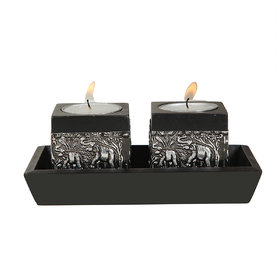 Outdazzle Designer  Wooden Candle Stand With Wooden Tra - 98764823