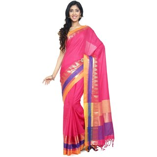 Sudarshan Silks Pink Cotton Self Design Saree With Blouse