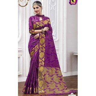 sudarshansilk Purple Raw Silk