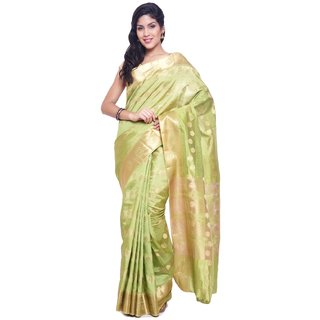 Sudarshan Silks Green Raw Silk Self Design Saree With Blouse
