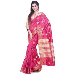 Sudarshan Silks Pink Raw Silk Self Design Saree With Blouse