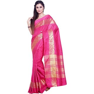 Sudarshan Silks Beige Raw Silk Self Design Saree With Blouse