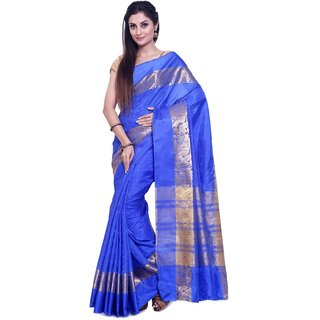 sudarshansilk Blue Raw Silk