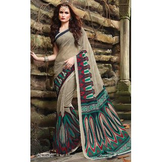 Sudarshan Silks Grey Cotton Self Design Saree With Blouse