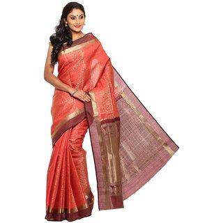 Sudarshan Silks Pink Tussar Silk Self Design Saree With Blouse